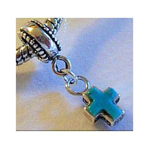 Turquoise Cross Sterling Silver Tiny Dangle Charm