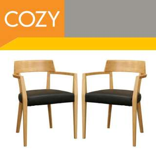 Modern Wood Dining Room Chairs Set w/ Leather Seats New