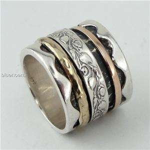 Floral meditation romantic ring wide band silver rose gold bague tube