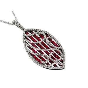 Ladies Diamond & Ruby Neckalce in 14K White Gold (TCW 2.35). Jewelry