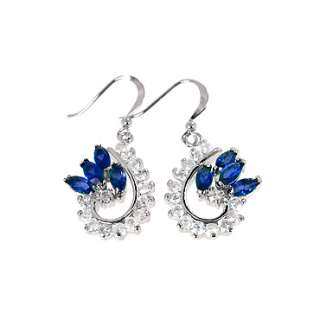 FASHION LADY JEWELRY BLUE SAPPHIRE WHITE GOLD GP EARRINGS DANGLE