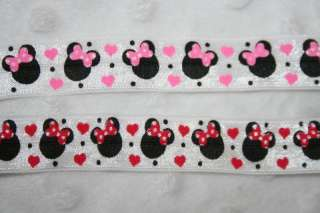 Red White Minnie Mouse foldover fold over elastic FOE hair ties 5/8