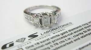 18Kt 3 Stone Emerald Cut Diamond Engagement Ring 2.10Ct