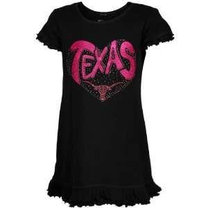 Texas Longhorns Toddler Girls Black Glitter Heart Logo