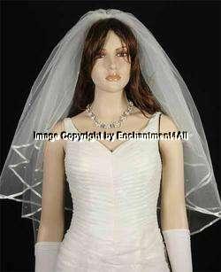 Ivory Bridal Wedding Veil Pearls Ribbon Fingertip 3