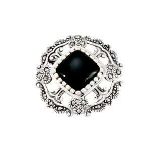 Sterling Silver Marcasite and Onyx Open Work Pin Jewelry