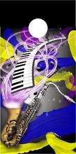 Jazz saxophone Cornhole game decal wrap FLAWED hole is off slightly