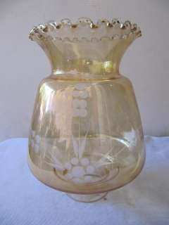 Antique Amber Etched Glass Ceiling Light Globe Rare