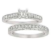80 ct. t.w. Princess Cut Diamond Bridal Set in 14k White Gold (I, I1