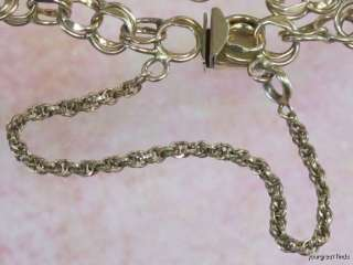 20 12K YELLOW GOLD DOUBLE LINK & SAFETY CHAIN CHARM BRACELET