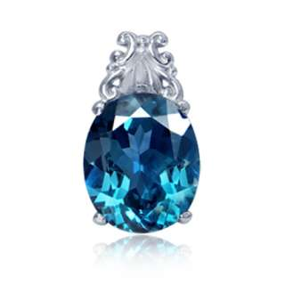 35ct. Real London Blue Topaz Gold Plated 925 Sterling Silver