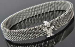 White Gold Vertu Pave Diamond Boy Charm Mesh Bangle Bracelet