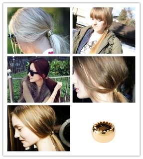 Metallic Mirrored Gold Silver Metal Hair Hold Hair Cone Ponytailer
