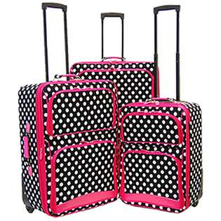 Luxury Divas BLACK WHITE PINK POLKA DOT 3 PIECE UPRIGHT LUGGAGE at