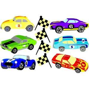 Wallcandy Arts Multi Color Race Cars & Flags   1 Kit Baby