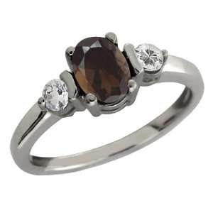 Oval Brown Smoky Quartz and White Topaz Sterling Silver Ring Jewelry