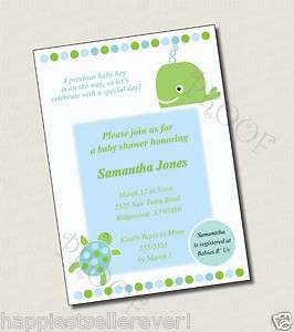Printable Baby Shower Birthday invitation OCEAN TURTLE custom