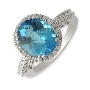 50cttw Natural White Round Diamond (SI Clarity,G H Color) & Blue Topaz