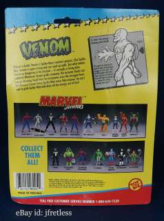 1993 Toy Biz Marvel Super Heroes Near Mint on Card Venom Vintage