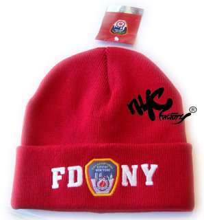 FDNY WINTER HAT RED EMBROIDERED LOGO BADGE BEANIE KNIT CAP OFFICIAL