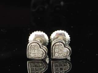 LADIES WHITE GOLD FINISH WHITE DIAMOND PAVE STUDS EARRINGS HEART LOVE