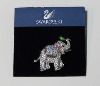 AUTHENTIC ELEPHANT PIN/BROOCH PINK/AQUA CRYSTALS WOMENS/LADIES