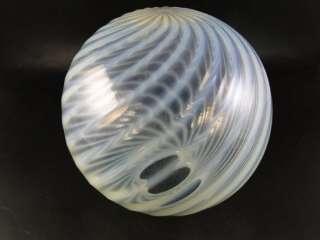 Antique Art Glass Opalescent White Swirl Lamp Shade Ceiling Lighter
