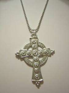 Large Pewter Celtic Cross on Stainless Steel Necklace