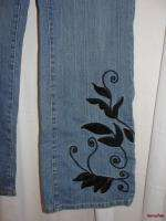CREEK Blue Stretch Black Embroidery Scroll Boot Cut Leg Jeans 8