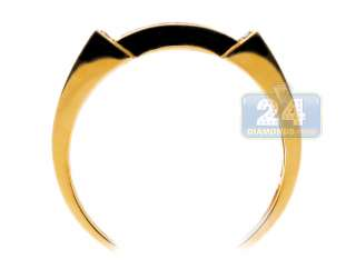 925 Sterling Silver 0.45 Diamond Yellow Gold Mens Band Ring