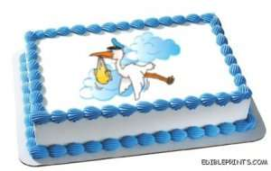 Stork Delivery Baby Shower Edible Frosting Image Icing Cake or Cookie