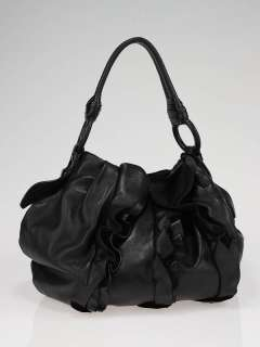 Prada Black Nappa Leather Ruffle Shoulder Bag BR3993