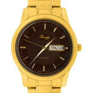 Romilly Gold Tone Bracelet/Brown Dial Watch Mens