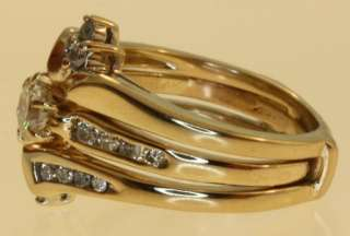 14k yellow gold diamond wedding band ring jacket guard .63ct antique