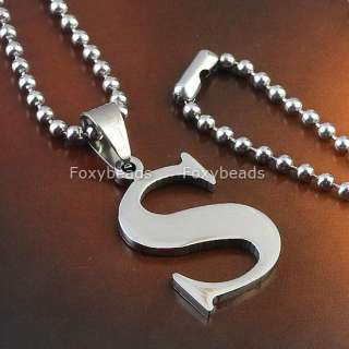 LETTER INITIAL ALPHABET STAINLESS STEEL NECKLACE PENDANT BEAD