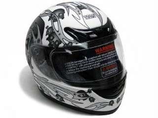 Matte White Skull Full Face Motorcycle Street Helmet ~M