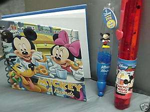 Disney Mickey Mouse Stationary Set Pen Spiral Notebook