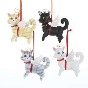 Pack of 8 Angel Kitty Cat Figure Christmas Ornaments 3