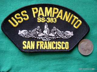 USS PAMPANITO SS 383 SUB USN NAVY MILITARY HAT PATCH