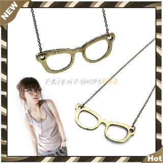 Stylish Vintage Style Brown Glasses Pendant Necklace F