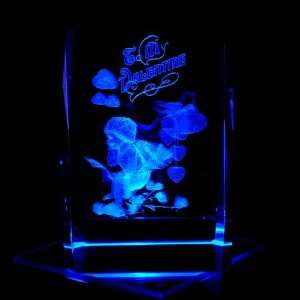 Cupid Be My Valentine 3D Laser Etched Crystal includes Two