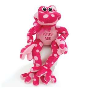 Pink Polka Dot Valentines Day Plush Frog Stuffed Animal Gift   Kiss