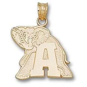 Alabama Crimson Tide Solid 10K Gold A Elephant 5/8 Pendant