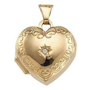 New 14K Yellow Gold Heart Shaped Diamond Locket   20mm