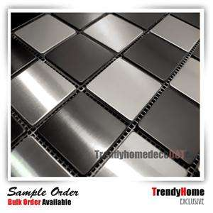 Brushed stainless steel black and silver mosaic tile backsplash