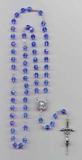 Mother Teresa Blue Iridescent Crystal Rosary