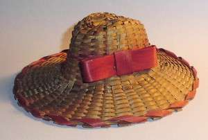 Antique Red & Natural SRAW DOLL HAT