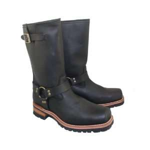Xelement Mens Black Motorcycle Harness Biker Boot with Brown Lug Sole