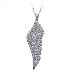 CZ Angel Wing Pendant Necklace in Rose Gold over Silver