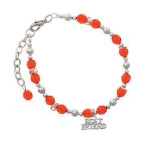 Silver Best Friend Orange Czech Glass Beaded Charm Bracelet [Jewelry